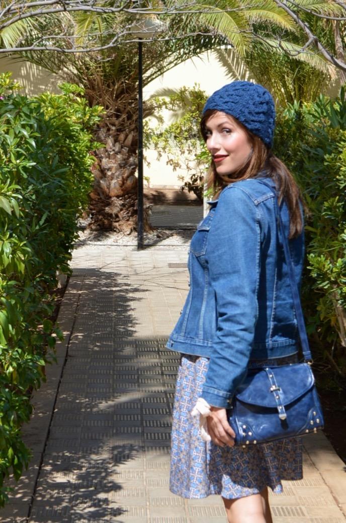 look falda azul gorro denim botin mariamare0036