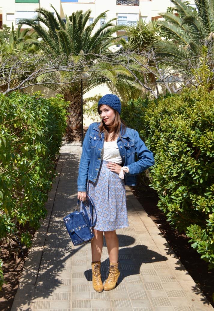 look falda azul gorro denim botin mariamare0038
