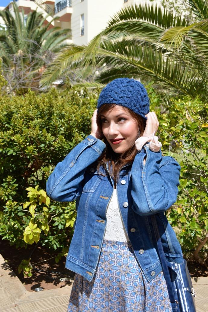 look falda azul gorro denim botin mariamare0041