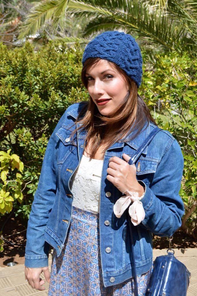 look falda azul gorro denim botin mariamare0043