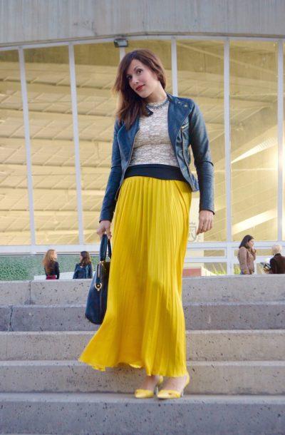 look falda larga tablas amarilla perfecto