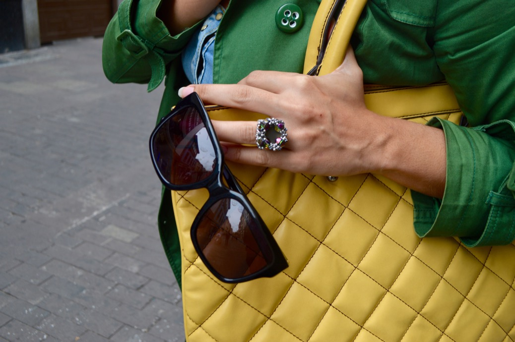 look falda lapiz trench amarillo verde embarazada 0444