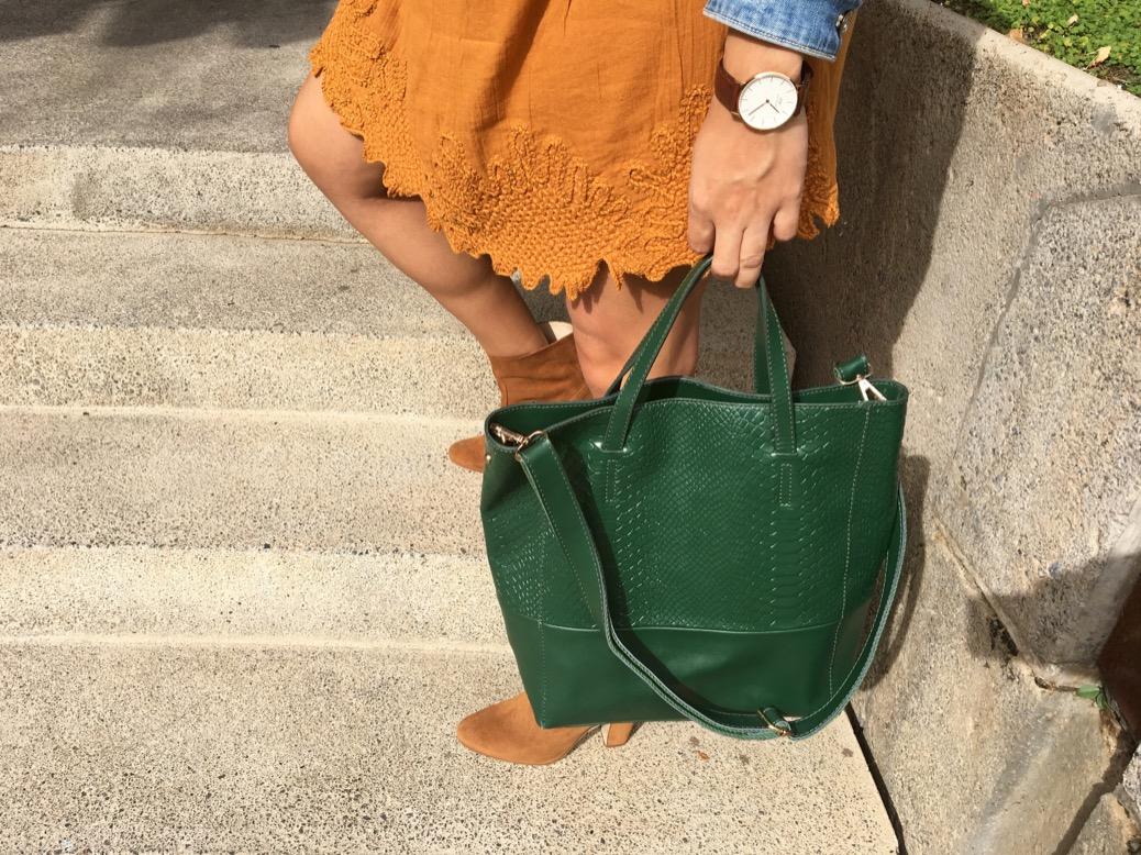look vestido mango camel botin verde bordado zara 0313